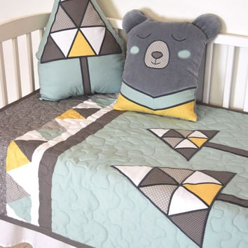 Teal  Baby Blanket, Bear Crib Quilt for Woodland Nursery, Native Baby Bedding
