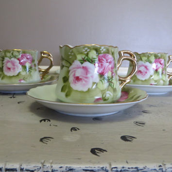 Vintage Lefton Heritage Rose Set of Tea Cups and Saucers Rose Floral Cups Shabby Chic Cottage Chic Mint Green and Pink Gold Trimmed Teacup
