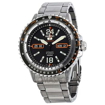 Seiko SRP347 Men's 5 Sports Black Dial Stainless Steel Bracelet Automatic Watch