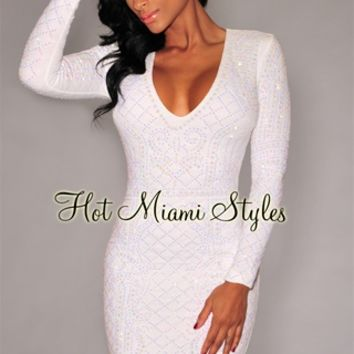 White Iridescent Stones Quilted V Neck Dress