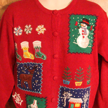 Dancing Snowman and Rudolph Festive Ugly Christmas Sweater