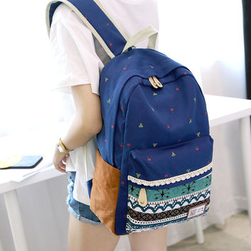 Korean Backpack Canvas Print Stylish Casual Travel Bags [8384602055]