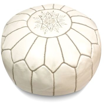 White Moroccan Pouf with Grey Stitching Round Genuine Leather