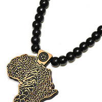 Map of Africa Wood Pendant (Black and Natural)
