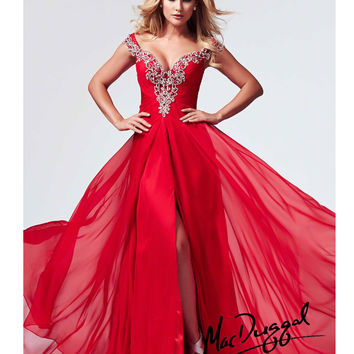 (PRE-ORDER) Mac Duggal 2014 Prom Dresses - Red Chiffon Breakaway A-Line Prom Gown