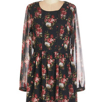 ModCloth Mid-length Long Sleeve Ebb and Flowers Dress
