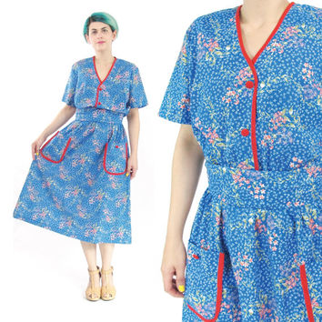 70s 80s Blue Floral Print House Dress Floral Secretary Dress Short Sleeve Dress Knee Length Cotton Dress Pockets Elastic Waist Belted (L)