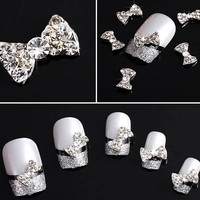50pcs 3D silver Alloy Bow Tie Nail Art stickers by iArtSupplies