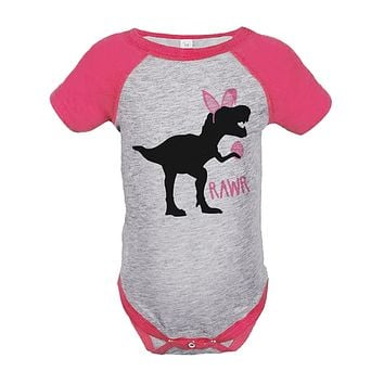 Custom Party Shop Baby Girls Dinosaur Happy Easter Pink Onepiece