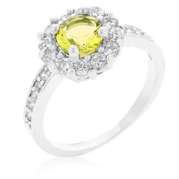 Belle Canary Yellow  Halo Engagement Cocktail Ring | 2.5ct | Cubic Zirconia | Silver