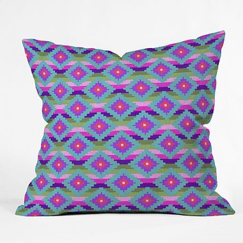 Bianca Green Aztec Diamonds Teal Throw Pillow