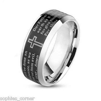 Laser Etched Lords Prayer in Stainless Steel Black Ceramic Wedding Ring Band -