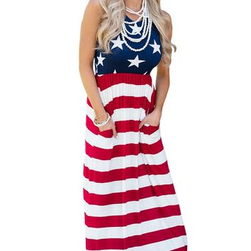 Chicloth Country Love American Flag Maxi Dress