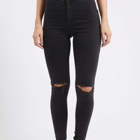 MOTO Washed Black Busted Joni Jeans - Topshop