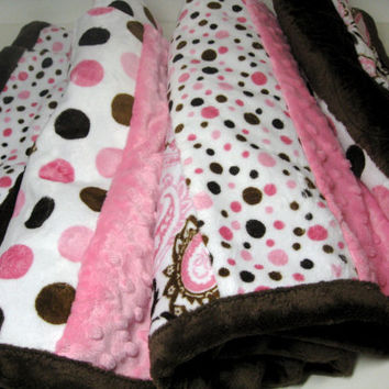 Mother's Day Quilted Throw Pink and Brown Snuggle Blanket Baby to Adult
