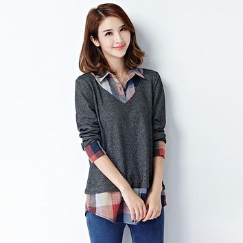 Kimono Tunics Women's Long Sleeve Blouse Office Plaid Shirts Top
