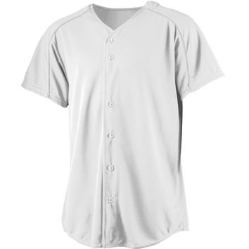 Augusta 583Wicking Button Front Baseball Jersey-Youth - White
