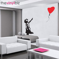Banksy Balloon Girl Wall Sticker - Medium - Pop Culture Graffiti Wall Decor