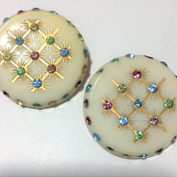 Cream Lucite Pastel Rhinestone Earrings, Pink Blue Green Crystal, Large Round Disk, Clip On Style, Mid Century Jewelry 618ms