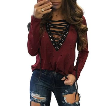 Sexy Holes T Shirts 2017 Sexy V-Neck Long Sleeve Ripped Bandage T-Shirts Casual Women Tee Wanted Lace-up Top Plus Size GV585