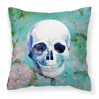 Day of the Dead Teal Skull Fabric Decorative Pillow BB5123PW1414