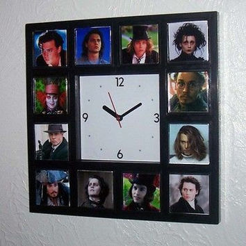 Johnny Depp characters Clock with 12 classic roles. 21 jump Street, Mad Hatter +
