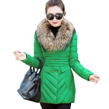 Big Fur Collar Jacket 2017 Women Winter parka Vintage Design Zipper Double Breasted Warm Wadded Coat Cotton-Padded Outwear XH681