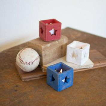 Set Of 3 Red White & Blue Clay Star Cube Votive Holders