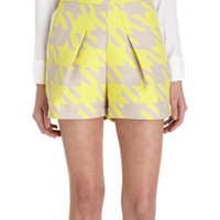 Timo Weiland Pleated Houndstooth Jacquard Shorts at Barneys.com