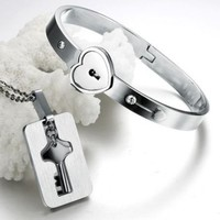 "Valentine's Day Gift for Him or Her: ""You Are Mine"" Couple Necklace and Bangle"