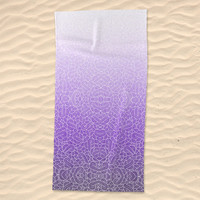 Ombre purple and white swirls zentangle Beach Towel by Savousepate