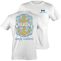 Simply Southern Preppy Shell Yea Gold Anchor T-Shirt