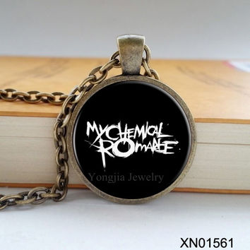 Free shipping Rock band My chemical romance necklace zinc alloy glass pendant retro necklace for rock fans