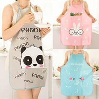 NEWWomen Cute Cartoon Waterproof Apron Kitchen Restaurant Cooking Bib Aprons