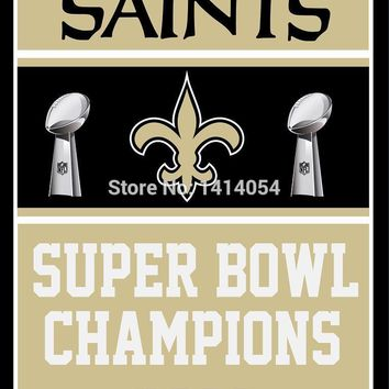 New Orleans Saints Super Bowl Champions Flag 150X90CM Banner 100D Polyester3x5 FT flag brass grommets 001, free shipping