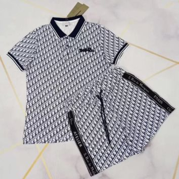 DIOR Woman Casual Simple Wild Fashion Letter Printing Short Sleeve Two-Piece