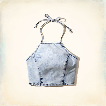 Denim Halter Crop Top