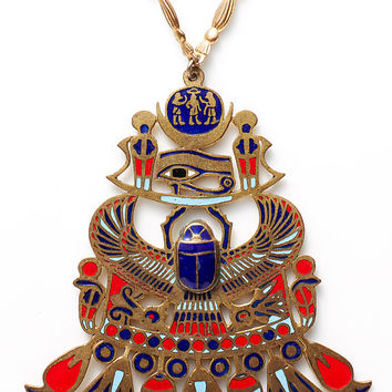 beyond divine VINTAGE 20s/30s Egyptian revival brass scarab enamel pendant chain necklace