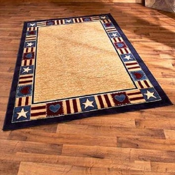 "Area Rug Americana Patriotic Cabin Lodge Country Primitive Rustic 63"" x 90"""