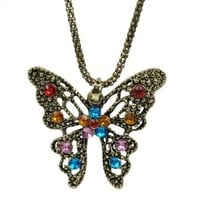 World Pride Vintage Bronze Hollow Butterfly Rhinestones Slim Round Chain Necklace