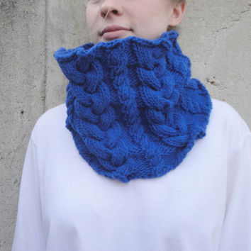 Bright Blue Cowl Scarf with Cables, Hand Knit, Acrylic, Warm Chunky Fashion, Royal Blue