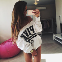 Sexy Sweatshirt Women 2016 Autumn Long Sleeve Loose Vs Pink Letter Print Hoody Brand tracksuit Pullovers Crop Top Female