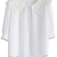 Sweet Lace Collar Grid Top in White White