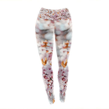 "Iris Lehnhardt ""Flowering Plum Tree"" Pink Blossoms Yoga Leggings"