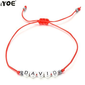 IYOE Custom Made Letter Beads Name Charm Bracelet Women Men Kids String Rope Unique Chain Lucky Bracelets Lovers Family Friends
