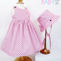 12 month pink corduroy dress with matching hat polka dot dress baby dress baby hat special occasion dress first birthday pink baby outfit