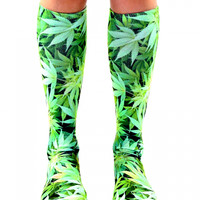 WEED KNEE HIGH SOCKS (GREEN)