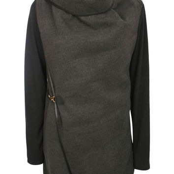 Gini Contrast Sleeve Wrap Over Jacket in Grey