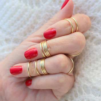 15 Gold Rings,Above Knuckle Ring,Knuckle Ring,Gold Knuckle Ring,Thin Gold Ring, Skinny Rings,Gold Skinny Rings,Stacking Rings,Stackable Ring