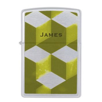 Gold Geometric Cubes Add Your Name Zippo Lighter
